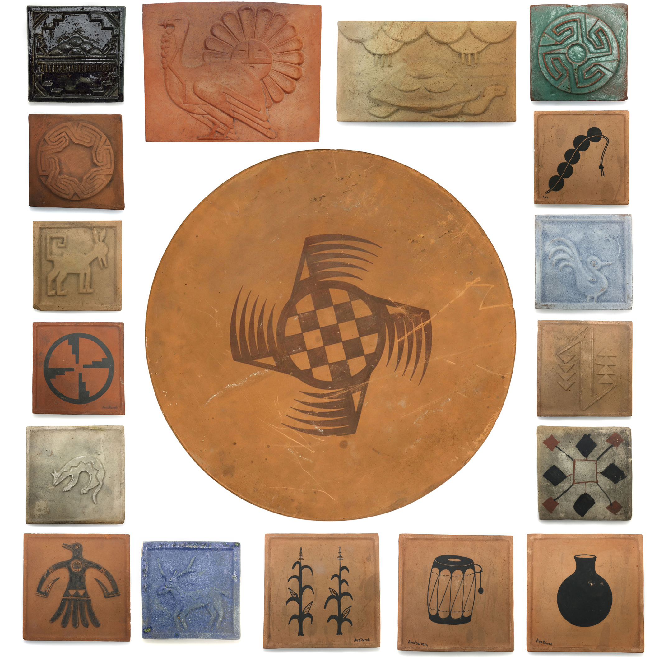May 28, 2021 VERY RARE! Collection of Awa Tsireh Pottery Tiles from the 1920s