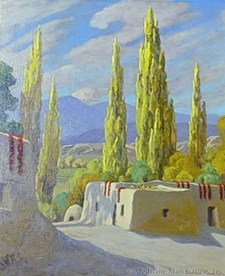 SOLD Sheldon Parsons (1866-1943) - Poplars and Chilis (Near San Juan, New Mexico)