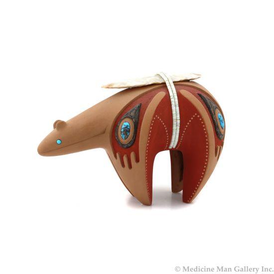"Tony Da (1940-2008) - San Ildefonso Redware Incised Bear with Inlaid Turquoise, Arrowhead, and Heishi Wrap c. 1980s, 4.25"" x 2.75"" x 5.75"" (P92348A-0621-072)"