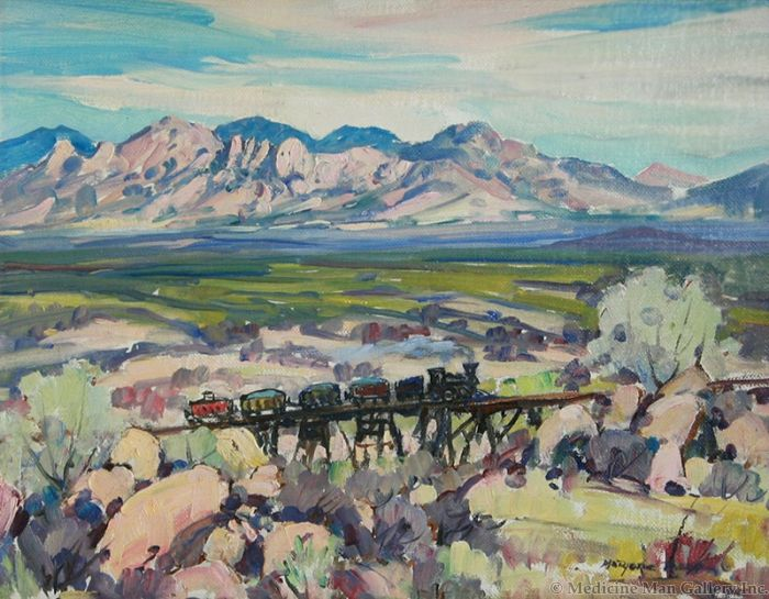 SOLD Marjorie Reed (1915-1996) - The Iron Horse into Tombstone 1903