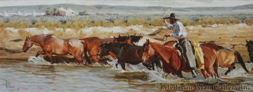 Fred Fellows - Horses for the Noon Change (Giclee Print on Canvas)