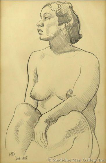 Maynard Dixon (1875-1946) - African American/Polynesian Nude (PDX91660-0521-002)