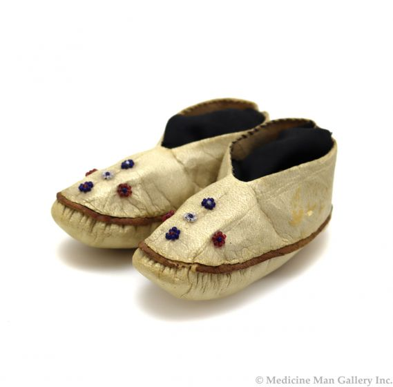"""Eskimo Seal Leather and Beaded Baby Moccasins c. 1900s, 2"""" x 5"""" x 2"""" (DW92323A-0421-007)"""