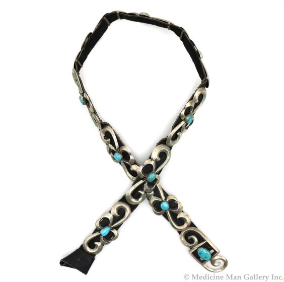 """""""Toddy"""" - Navajo Turquoise, Silver Sandcast, and Leather Belt c. 1950s, 32"""" length (J92243-0421-018)"""