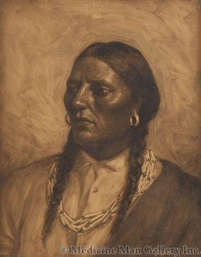 SOLD Joseph Henry Sharp (1859-1953) - Native American Portrait