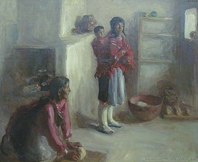 SOLD Alice Cleaver (1878-1944) - Indian Home Life - Zuni