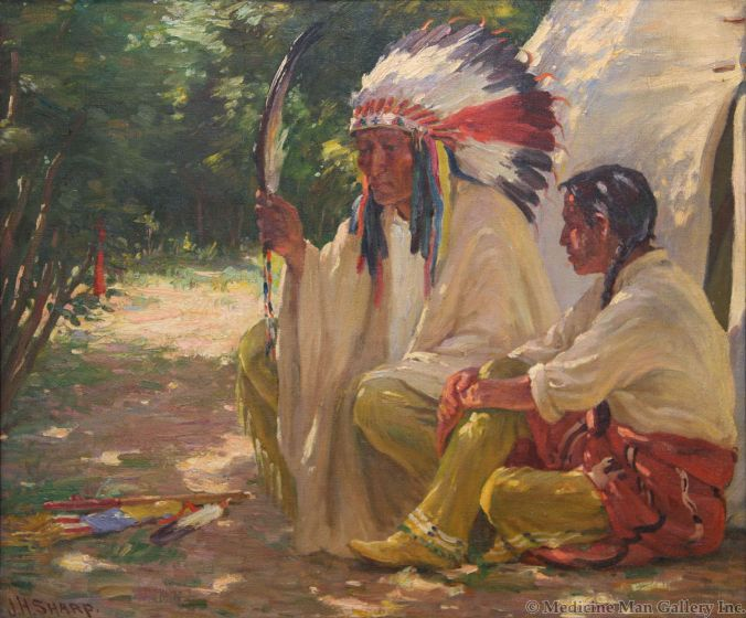 SOLD Joseph Henry Sharp (1859-1953) - Chief White Weasel and Son