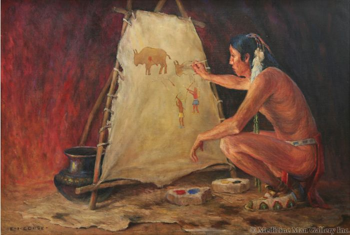 SOLD Eanger Irving Couse (1866-1936) - Recording the Buffalo Hunt