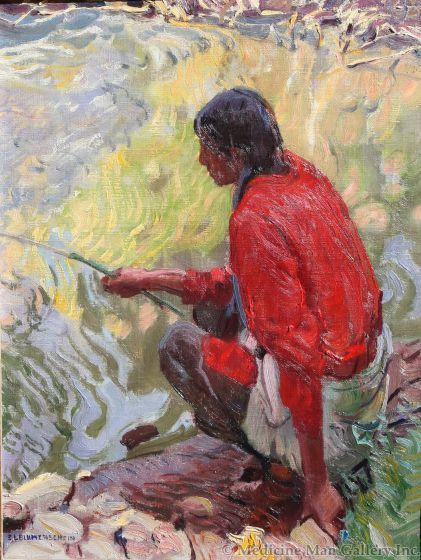 SOLD E.L. Blumenschein (1874-1960) - Taos Indian Fishing