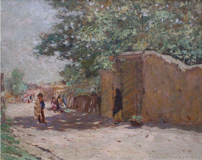 SOLD Frank Sauerwein (1871-1910) - Pueblo Under the Tree