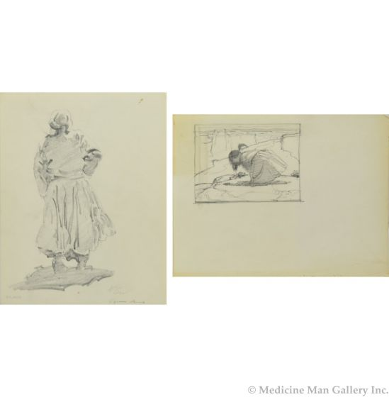 """Ralph Brownell McGrew (1916-1994) - Pair of Drawings, Number SK. 303 """"Squaw Dance"""" and Girl (PDC90536-1220-013)"""