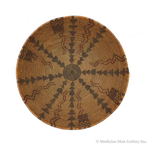 """Apache Polychrome Basket with Lightning and Checkerboard Designs c. 1890s, 2.75"""" x 13.5"""" (SK91963-0721-006)"""