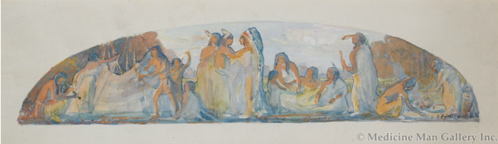 SOLD Bert Geer Phillips (1868-1956) - Polk County Courthouse Mural Study