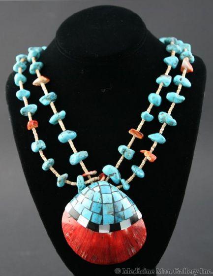 """Ava Marie Coriz """"Cool-Ca-Ya"""" (1948-2011) - Santo Domingo (Kewa) Heishi and Turquoise Necklace with Inlaid Shell, 32"""" (J90106-027-017)"""