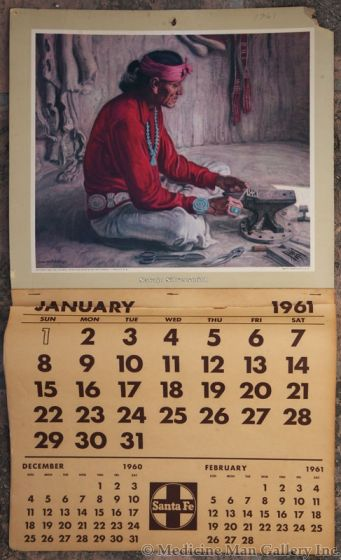 SOLD E. Martin Hennings (1886-1956) - Navajo Silversmith - Santa Fe Railway Calendar Print
