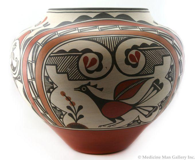 """Lois Medina (b. 1959) - Large Zia Polychrome Bird Design Jar, c. 1980, 15.5"""" x 18.5"""""""
