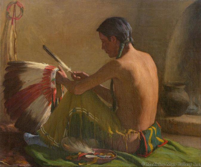 SOLD Joseph Henry Sharp (1859-1953) - The War Bonnet Maker