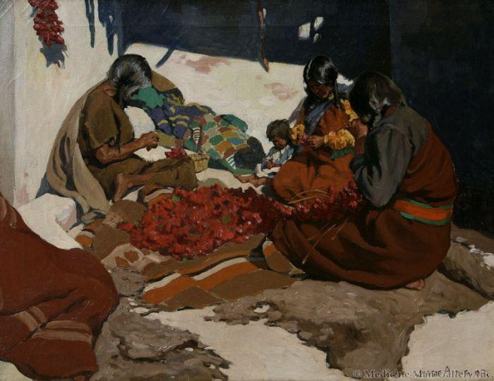 SOLD Jesse Arms Botke (1883-1971) - Hopi Home Life