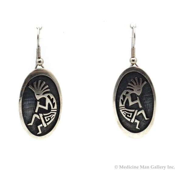 """Victor Coochwytewa (1922-2011) - Hopi Sterling Silver Overlay French Hook Earrings with Kokopelli Design c. 1970-80s, 2"""" x 0.75"""" (J10528-A)"""