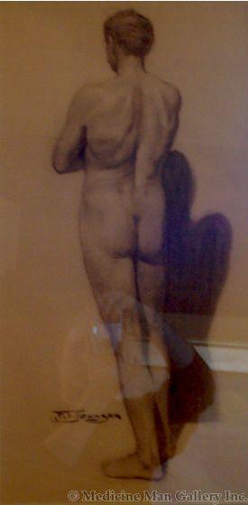 SOLD Frank Tenney Johnson (1984-1939) Nude Male (Backside)