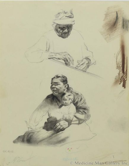 Ralph Brownell McGrew (1916-1994) - Number SK. 212, Native Portraits, One with Baby (PDC90536-1220-031)
