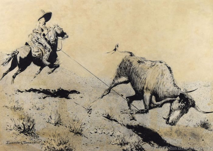 Edward Borein (1872-1945) - Any Native With a Lasso Can Always Get Beef