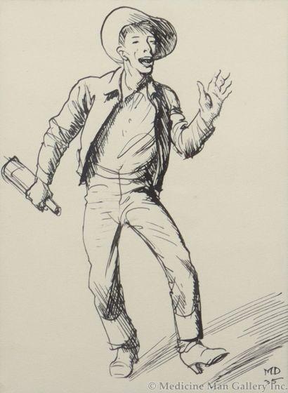 Maynard Dixon (1875-1946) - Jimmy Swinnerton Drinking, 1935