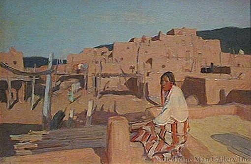 SOLD O.E. Berninghaus (1874-1952) - Taos Pueblo and Indian