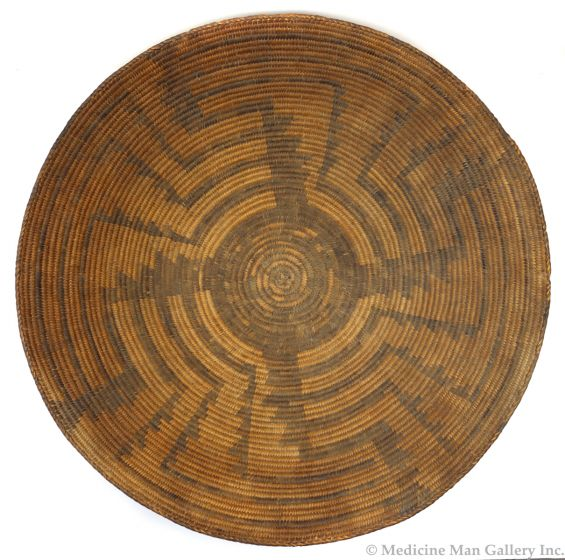 """Large Pima Basket with Whirling Logs Pictorial c. 1890s, 6"""" x 21.5"""" (SK3043)"""