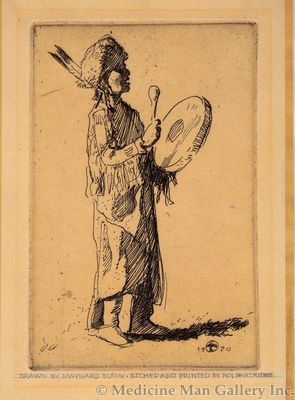 Maynard Dixon (1875-1946) - SOLD - Indian Drummer c. 1920 (Etched and Printed by Roi Partridge 1888-1984)