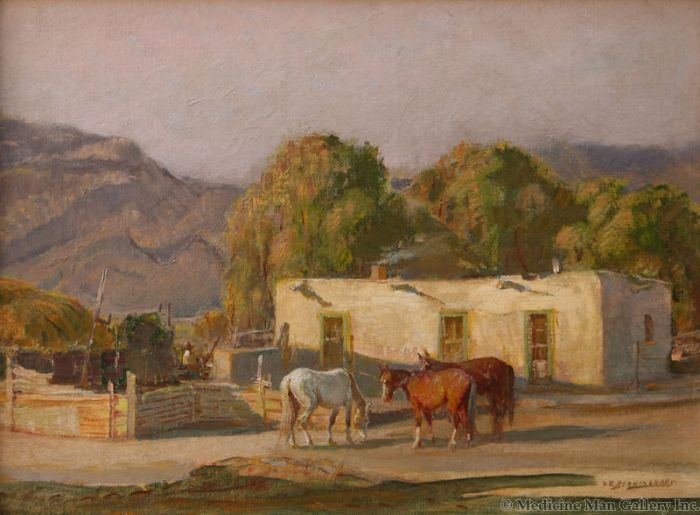SOLD O.E. Berninghaus (1874-1952) - Adobe Ranch House, Taos