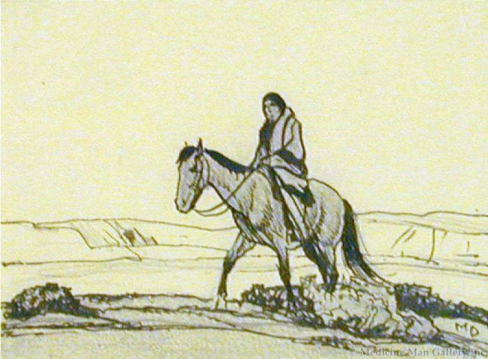 Maynard Dixon (1875-1946) - SOLD - Indian on Horseback