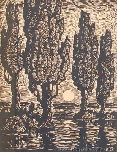 SOLD Birger Sandzen (1871-1954) - Poplars at Moonrise