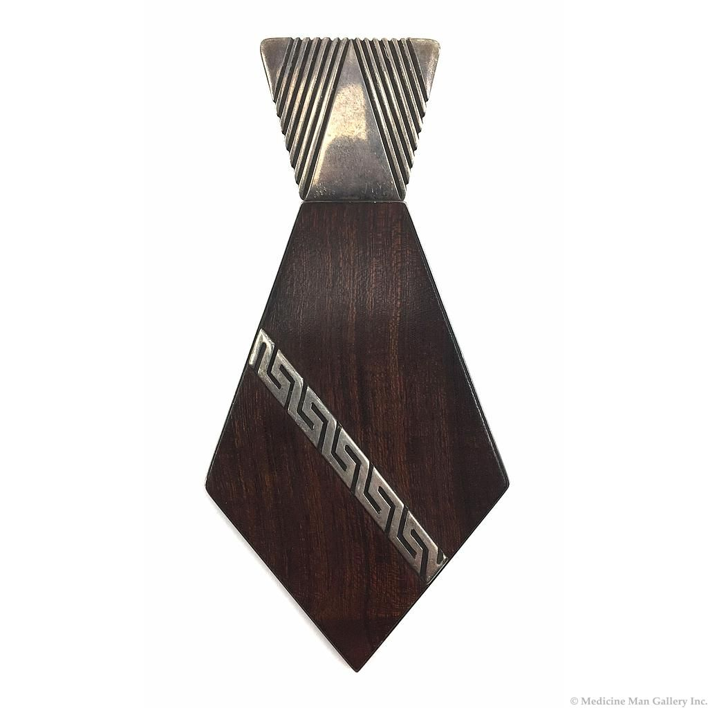 Kenneth Begay - White Hogan Ironwood and Sterling Silver Neck Tie Pendant, c. 1950s-60s, 5.5