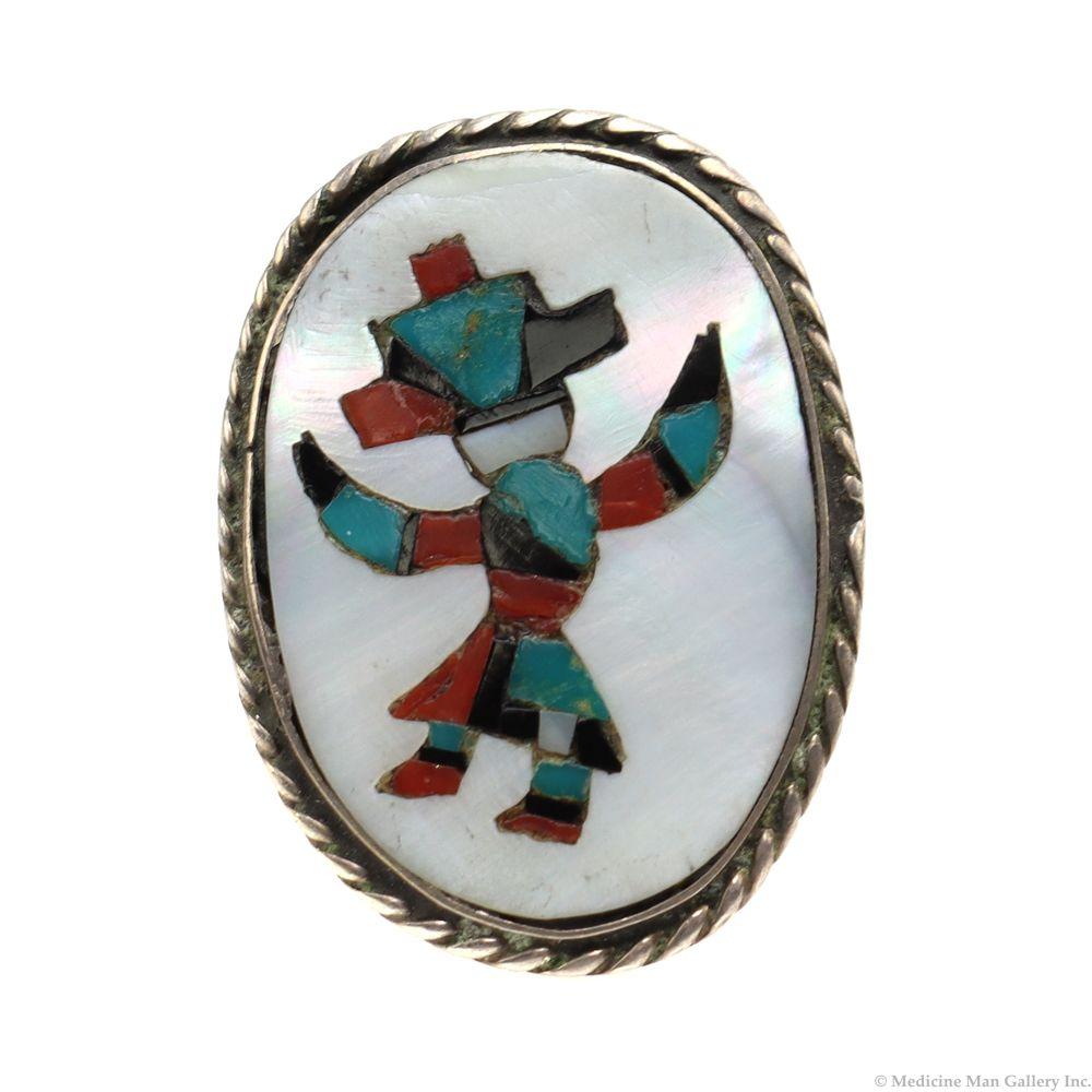 Item #883W Vintage Zuni Multi Stone Inlay Wolf Dancer Silver Ring sz 7 14