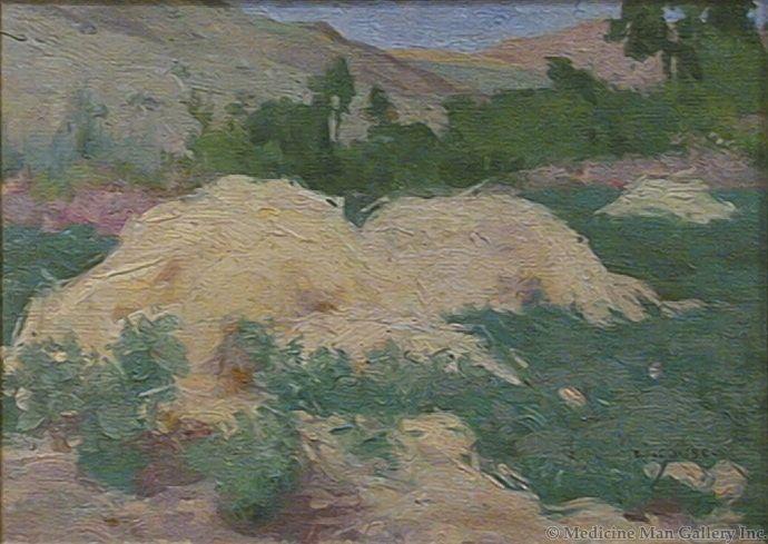 SOLD E. I. Couse (1866-1936) - Landscape - Hayfields