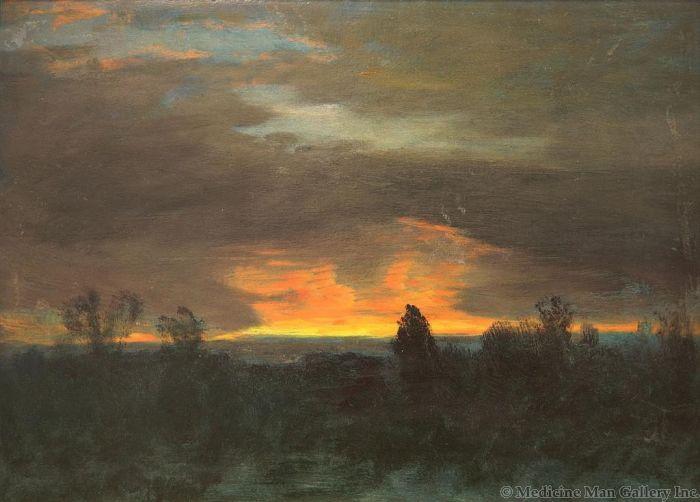 SOLD Albert Bierstadt (1830-1902) - Trees Against a Sunset
