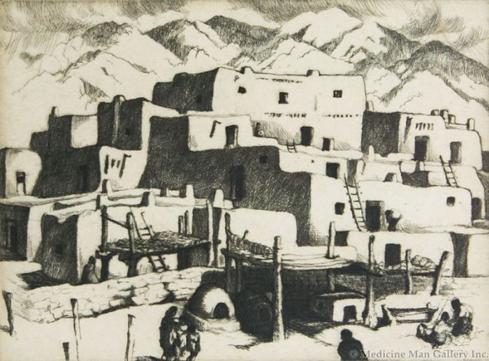 SOLD Gene Kloss (1903-1996) - South House, Taos Pueblo