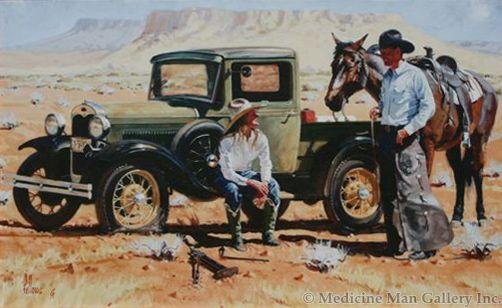Fred Fellows - A Cowboy's Lucky Day (Giclee Print on Canvas)