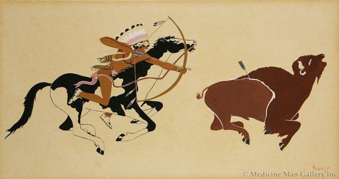 SOLD Allan Houser (1914-1994) - Buffalo Hunt