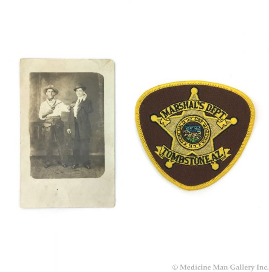 """Postcard of Two Men in Western Re-Enactment c. 1900s, 5.375"""" x 3.375"""" (Includes Tombstone Marshall's Department Patch) (M90747A-0821-007)"""