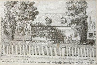 Maynard Dixon (1875-1946) - SOLD - Residence of Col. John Dixon, Williamsburg, Virginia, Nov 1889