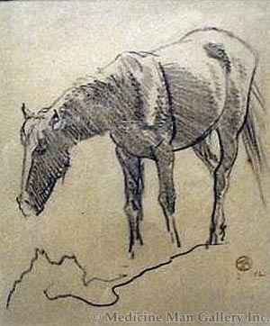 Maynard Dixon (1875-1946) - SOLD - Grazing Horse