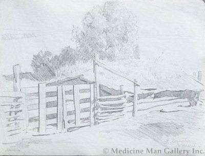 Maynard Dixon (1875-1946) - SOLD - Corral Gate, St. Ignatius, Montana