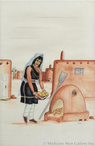 Kai-Sa (Percy Sandy) (1918-1974) - Indian Women Baking Bread