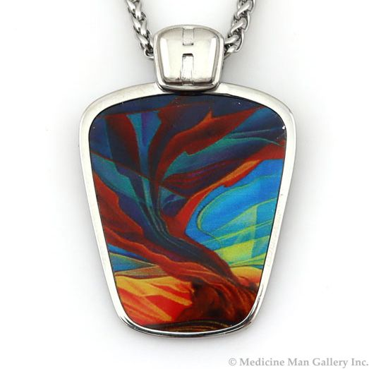 """William Haskell - """"Storm"""" Stainless Steel and Enamel Pendant with Chain, 1.75"""" x 1.25""""x"""