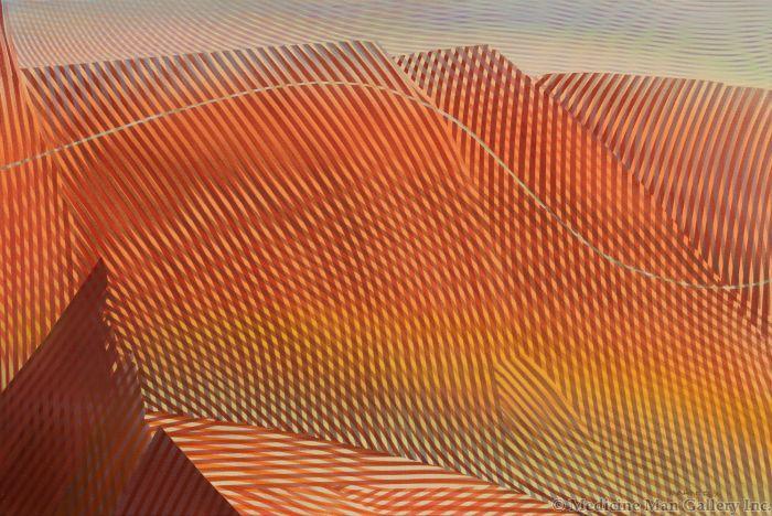 Merrill Mahaffey - Entrada Cliffs with Road Through Them #2 Grid Series
