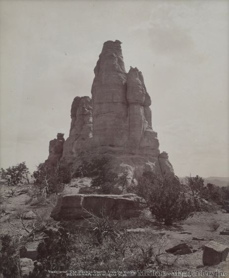 Ben Wittick (1845-1903) - Tzeh-O-Ue The Navajo Church From the North, Old Landmark Near Wingate, NM, c. 1890