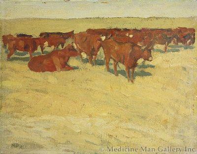 Maynard Dixon (1875-1946) - SOLD - Durham Herd, San Joaquin Valley