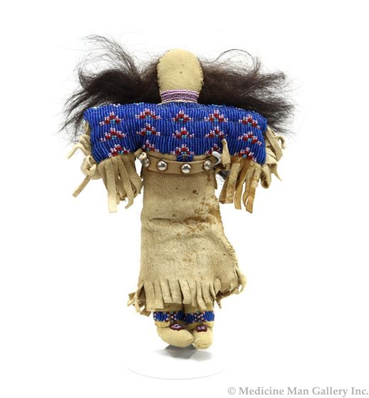 """Plains Contemporary Leather Beaded Doll, 9"""" x 6.5"""" x 2"""" (M1780)"""